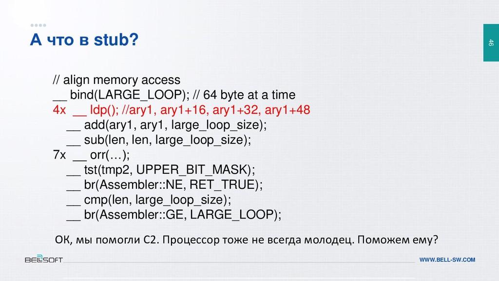 46 WWW.BELL-SW.COM А что в stub? // align memor...