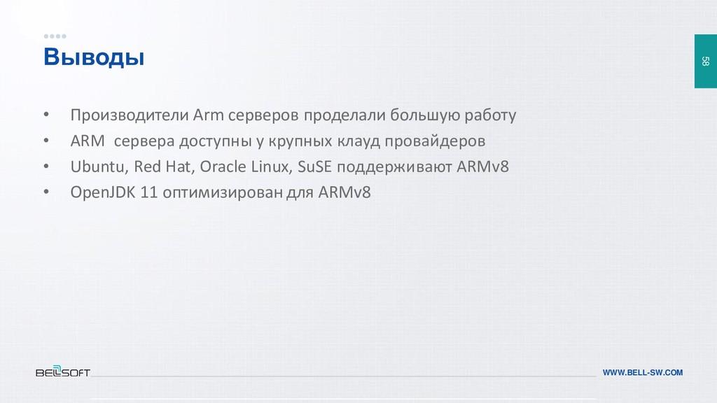 58 WWW.BELL-SW.COM Выводы • Производители Arm с...