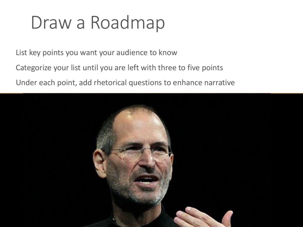 Draw a Roadmap List key points you want your au...