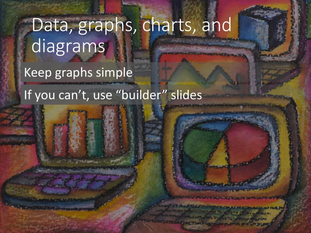 Data, graphs, charts, and diagrams Keep graphs ...