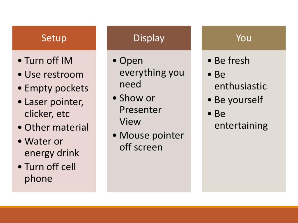 Setup • Turn off IM • Use restroom • Empty pock...