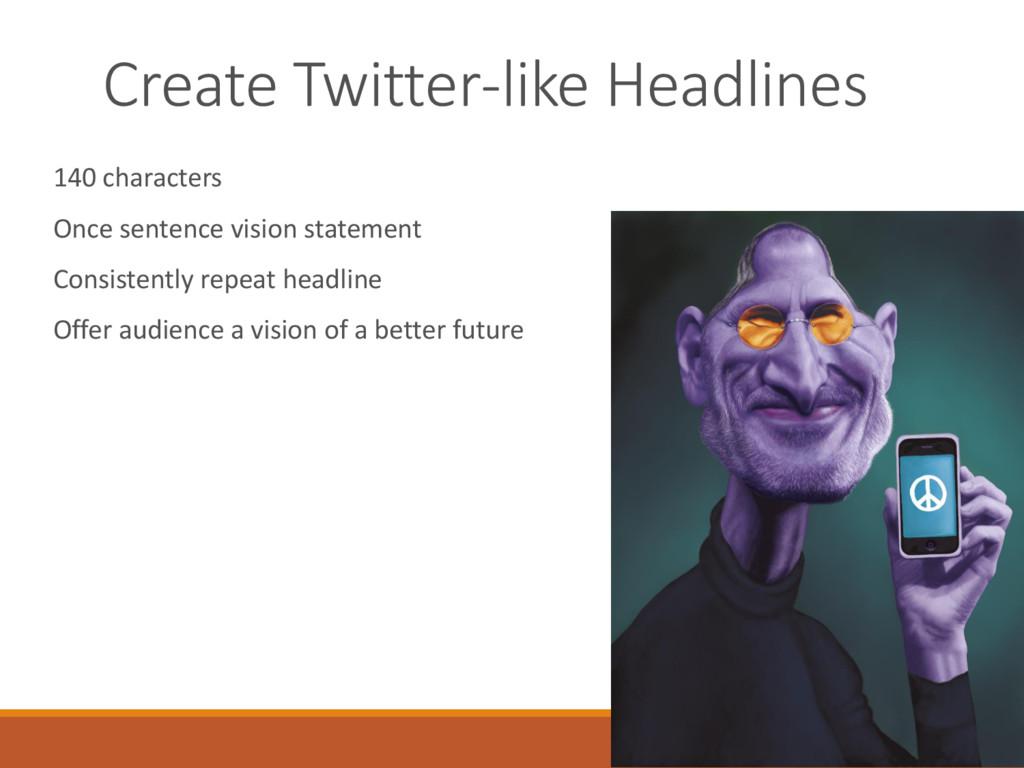 Create Twitter-like Headlines 140 characters On...
