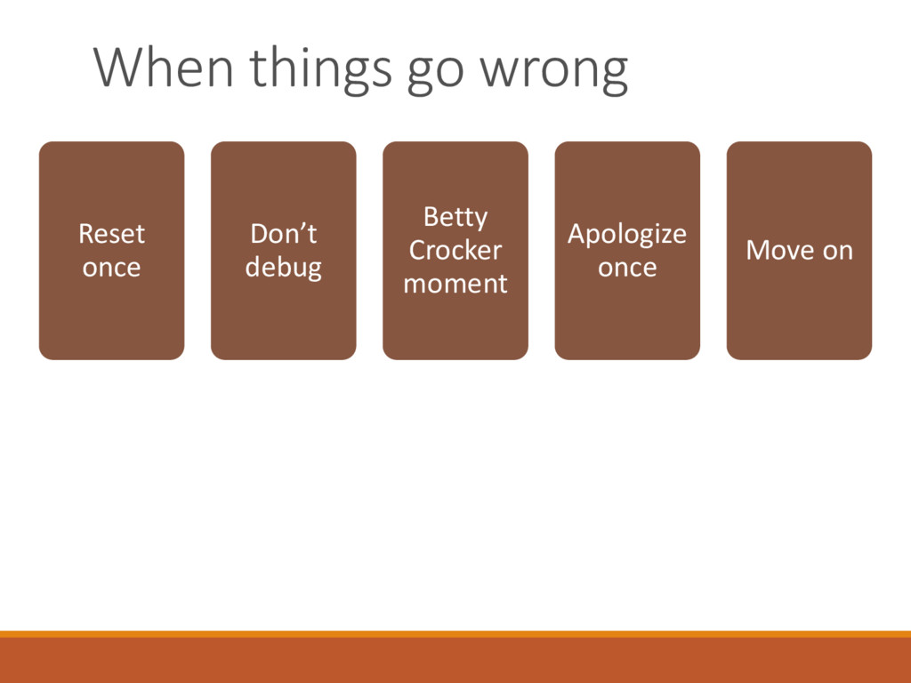 When things go wrong Reset once Don't debug Bet...
