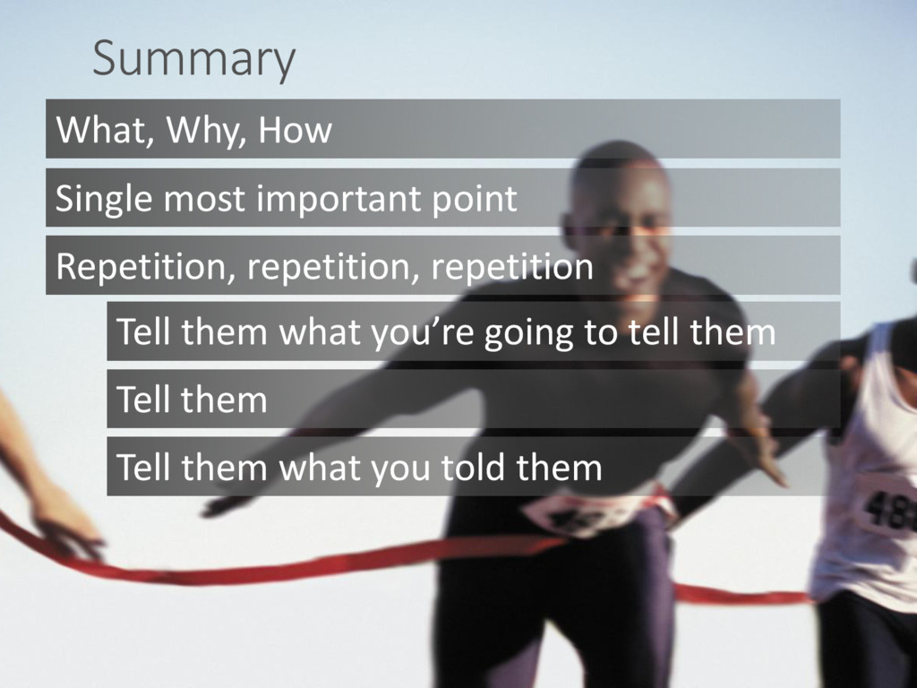 Summary What, Why, How Tell them what you're go...