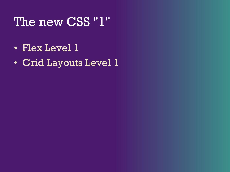 "The new CSS ""1"" • Flex Level 1 • Grid Layouts L..."