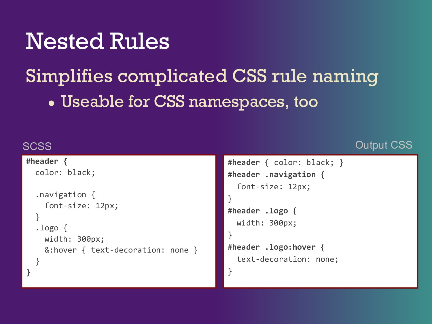 Nested Rules Simplifies complicated CSS rule na...