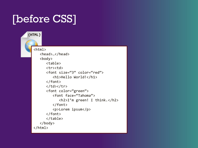 [before CSS] <html> <head>…</head> <body> <tabl...