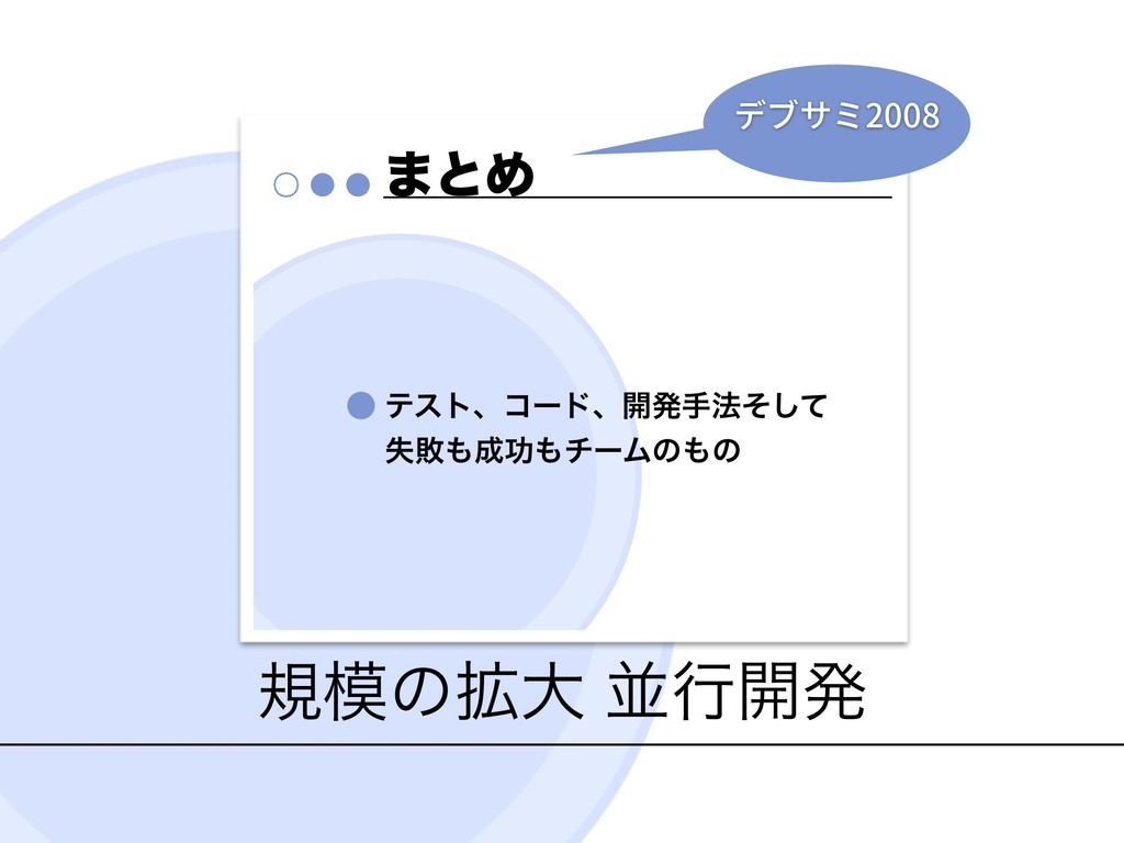 نͷ֦େ ฒߦ։ൃ ·ͱΊ ςετɺίʔυɺ։ൃख๏ͦͯ͠ ࣦഊޭνʔϜͷͷ 2008