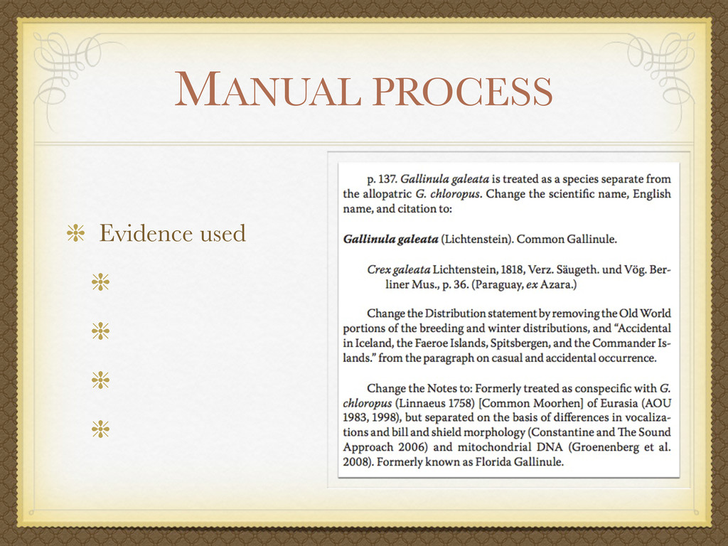 MANUAL PROCESS Evidence used