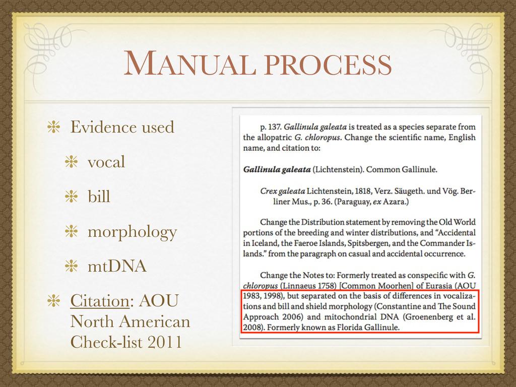 MANUAL PROCESS Evidence used vocal bill morphol...