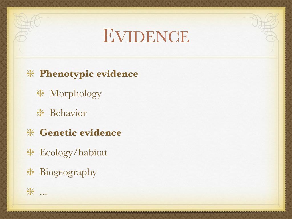 EVIDENCE Phenotypic evidence Morphology Behavio...