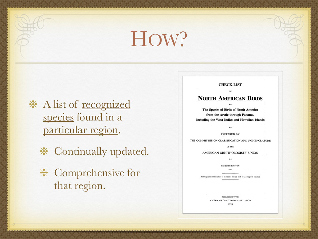 HOW? A list of recognized species found in a pa...