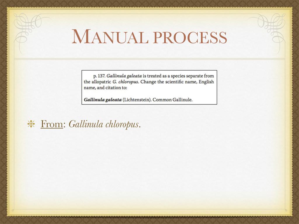MANUAL PROCESS From: Gallinula chloropus.