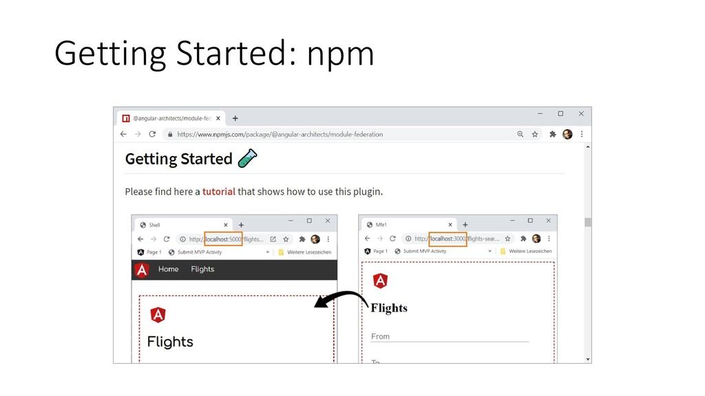 @ManfredSteyer Getting Started: npm