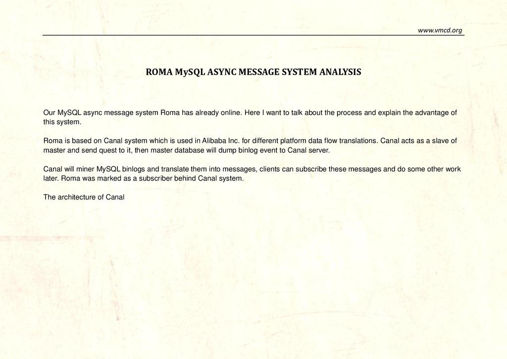 www.vmcd.org ROMA MySQL ASYNC MESSAGE SYSTEM AN...