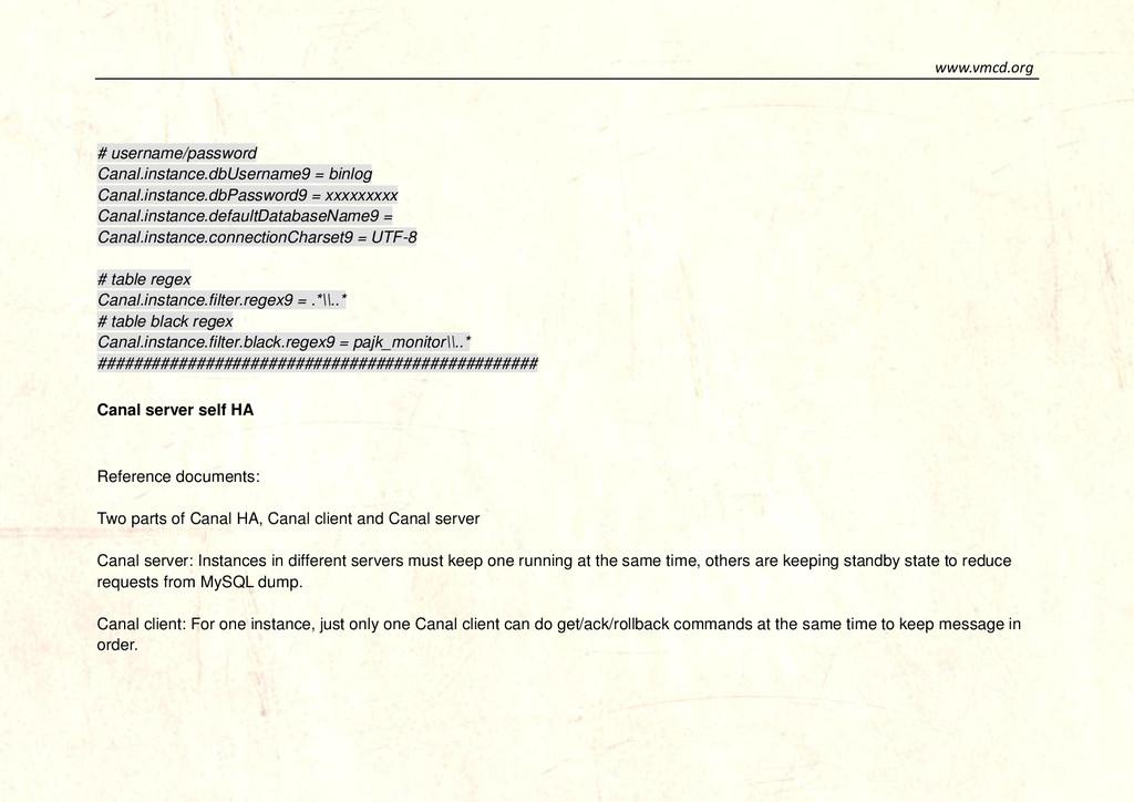 www.vmcd.org # username/password Canal.instance...
