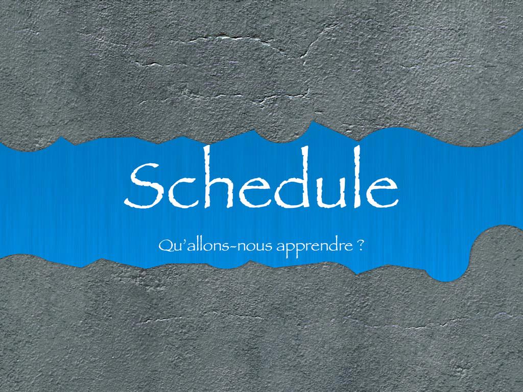 Schedule Qu'allons-nous apprendre ?