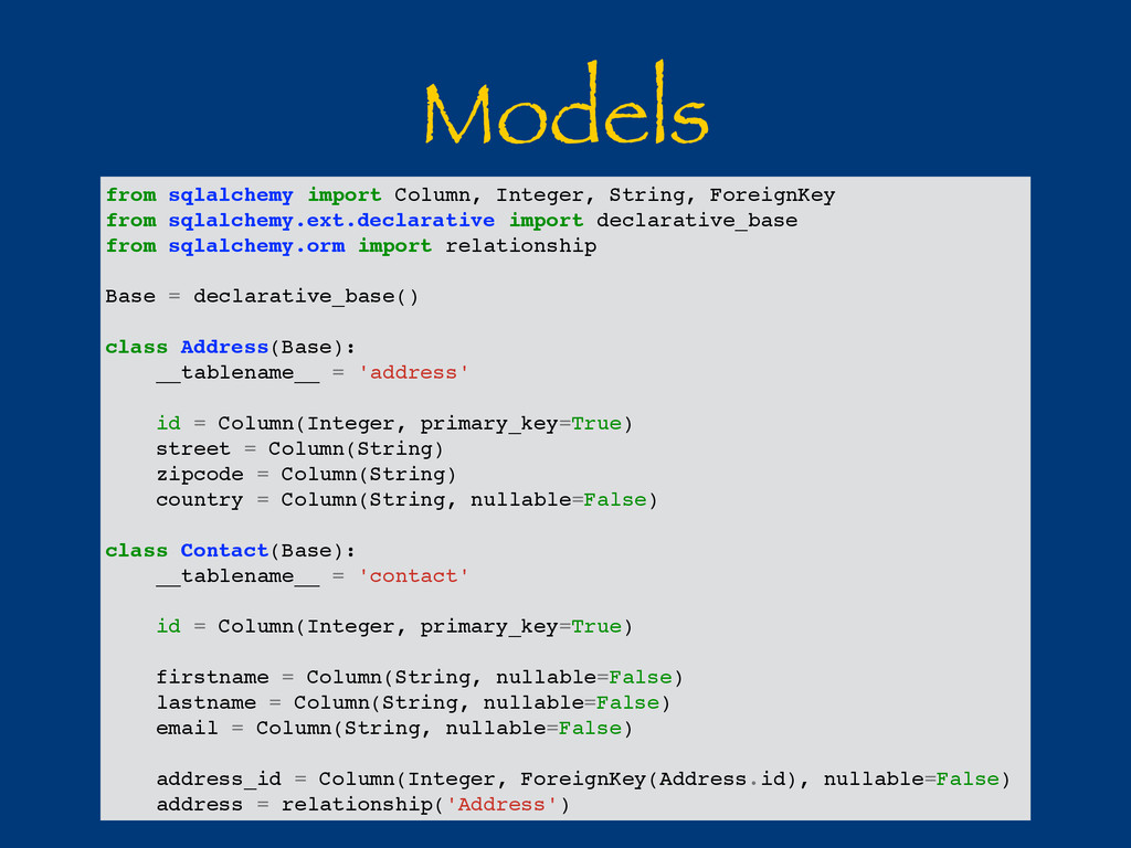 Models from sqlalchemy import Column, Integer, ...