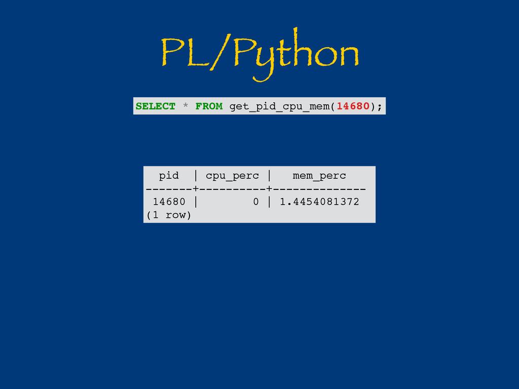 PL/Python pid | cpu_perc | mem_perc -------+---...