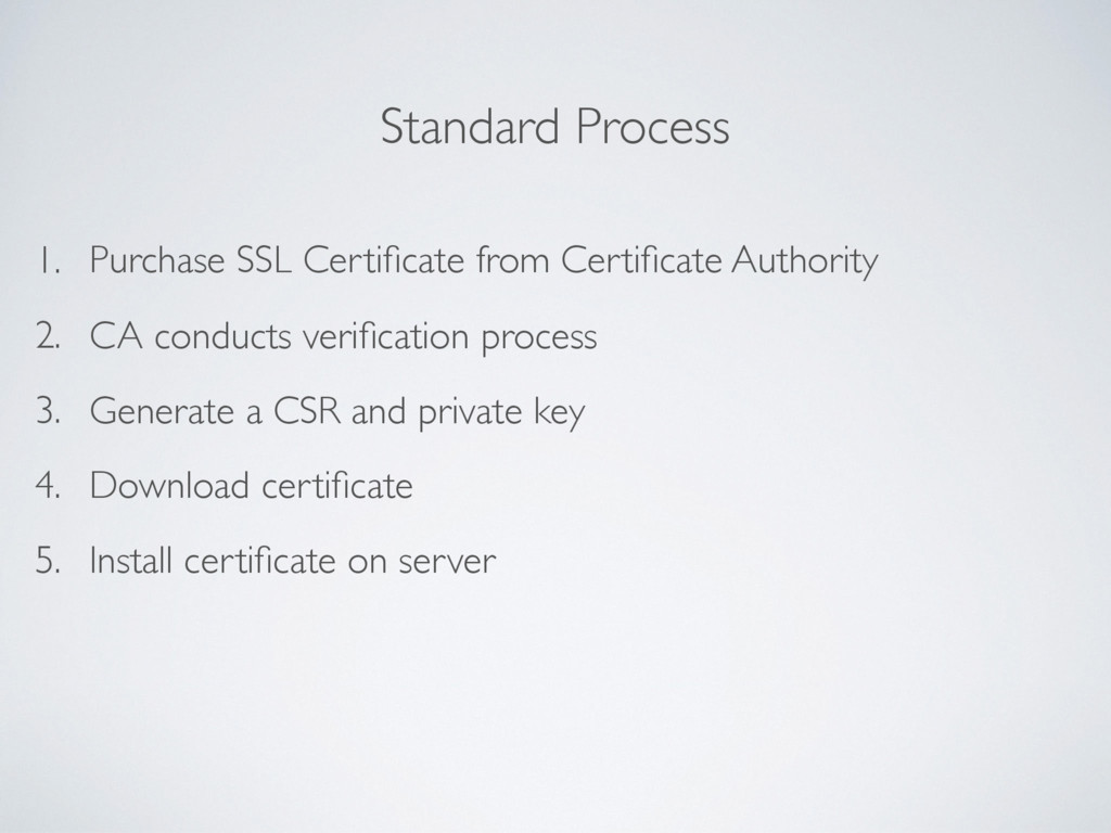 Standard Process 1. Purchase SSL Certificate fro...