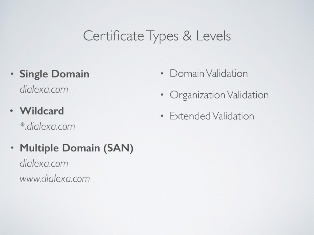 Certificate Types & Levels • Single Domain dial...