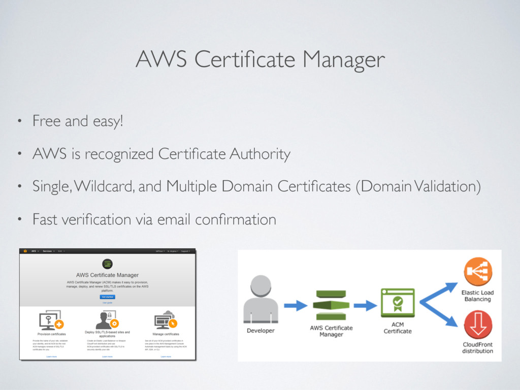 AWS Certificate Manager • Free and easy! • AWS i...