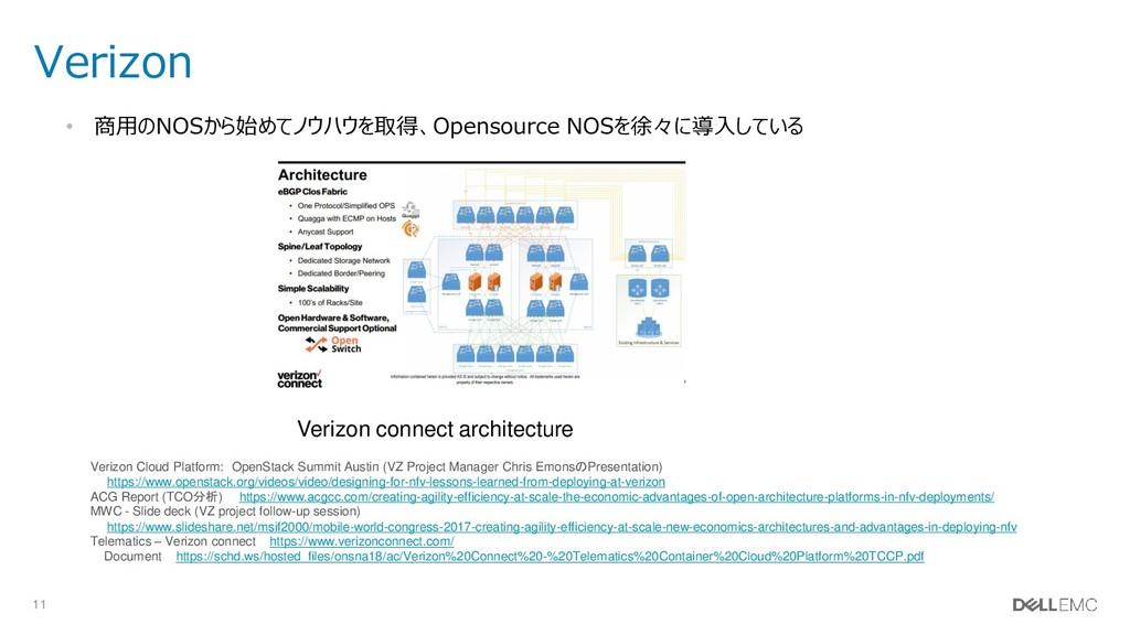 11 Verizon • 商用のNOSから始めてノウハウを取得、Opensource NOSを...