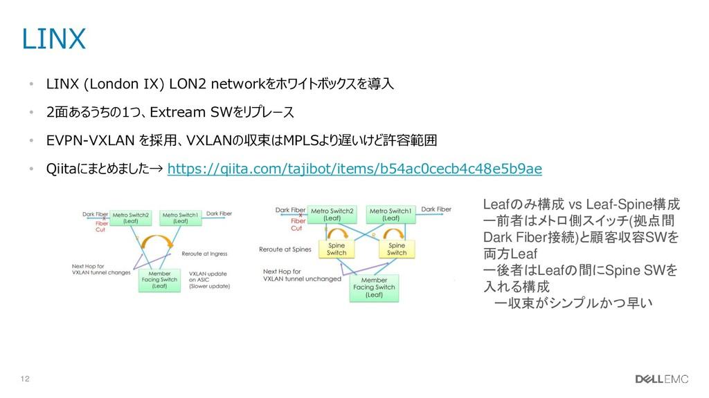 12 LINX • LINX (London IX) LON2 networkをホワイトボック...