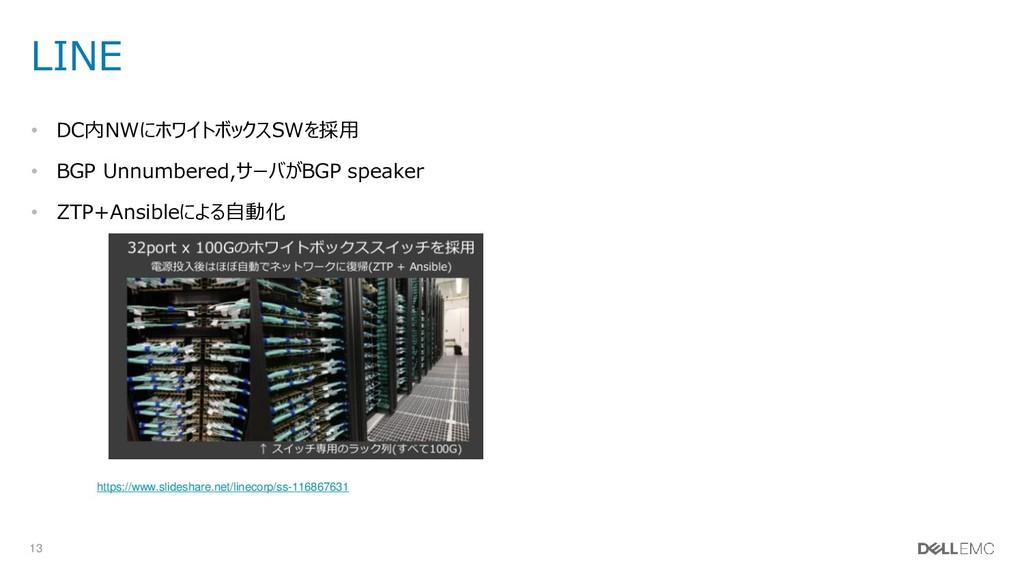 13 LINE • DC内NWにホワイトボックスSWを採用 • BGP Unnumbered,...