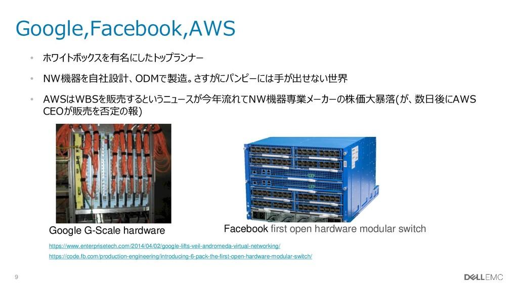 9 Google,Facebook,AWS • ホワイトボックスを有名にしたトップランナー •...