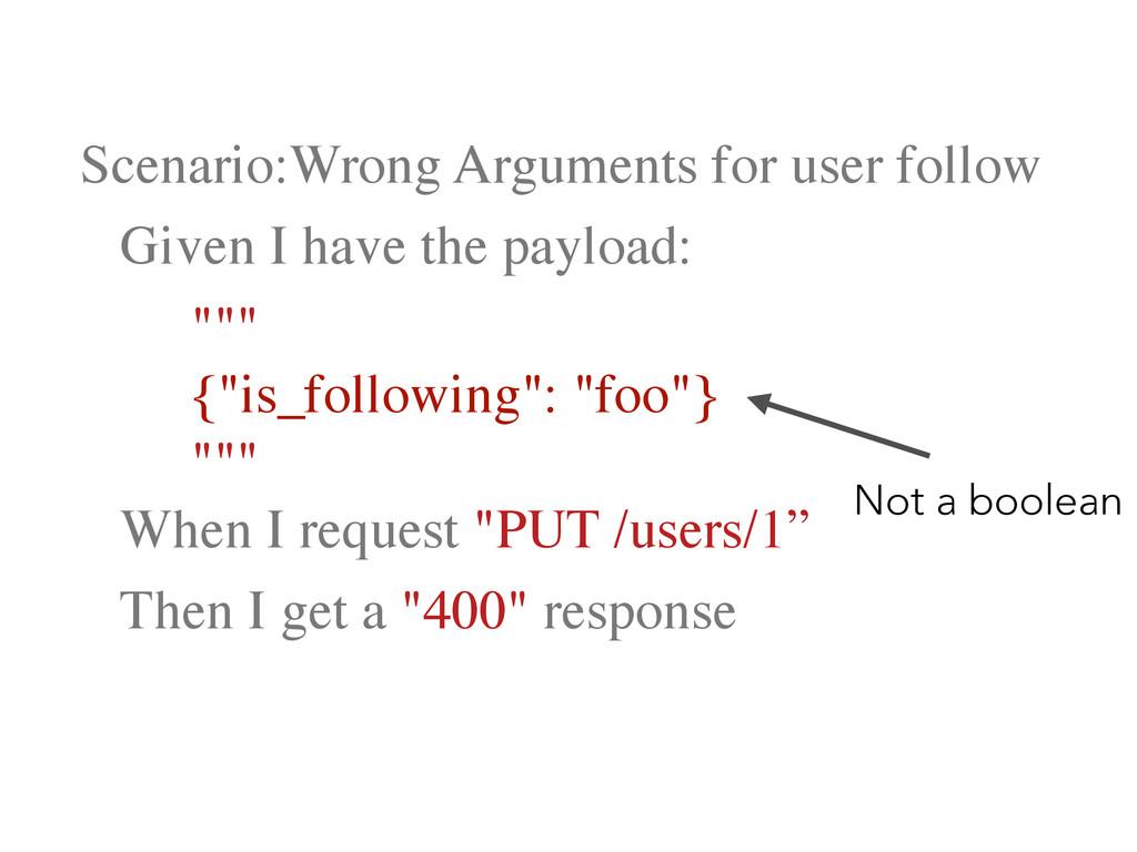 Scenario:Wrong Arguments for user follow   ...