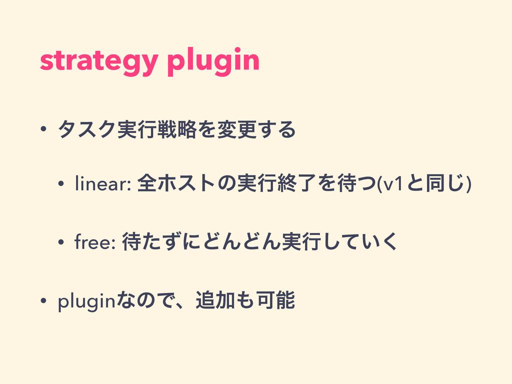 strategy plugin • λεΫ࣮ߦઓུΛมߋ͢Δ • linear: શϗετͷ࣮...