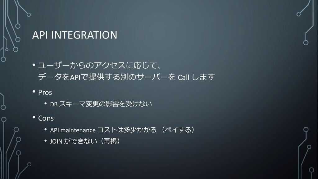 API INTEGRATION • ユーザーからのアクセスに応じて、 データをAPIで提供する...