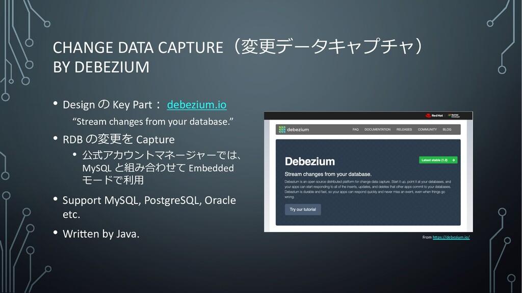 CHANGE DATA CAPTURE(変更データキャプチャ) BY DEBEZIUM • D...