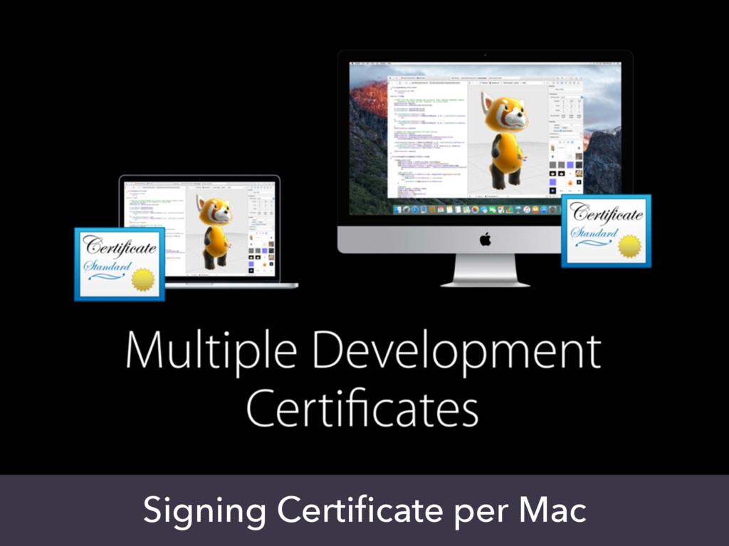 Signing Certificate per Mac