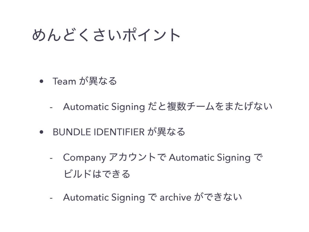 ΊΜͲ͍͘͞ϙΠϯτ • Team ͕ҟͳΔ - Automatic Signing ͩͱෳ...