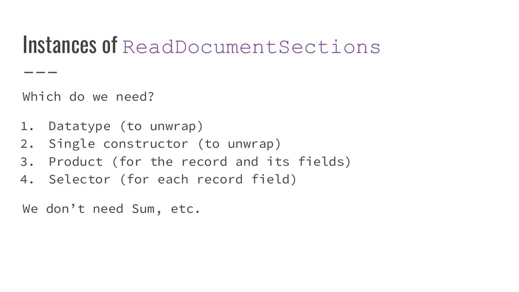 Instances of ReadDocumentSections Which do we n...