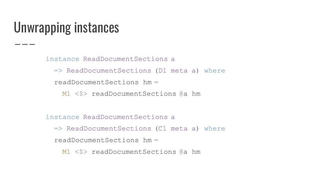 Unwrapping instances instance ReadDocumentSecti...