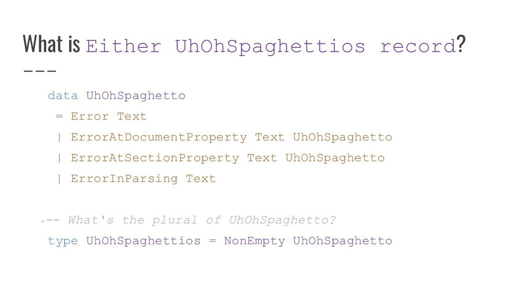 What is Either UhOhSpaghettios record? data UhO...