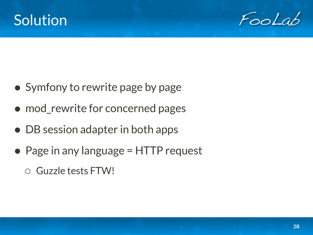 Solution • Symfony to rewrite page by page • mo...