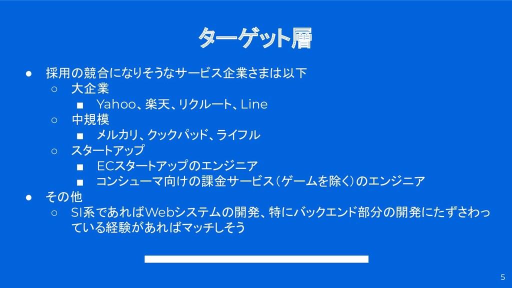 ターゲット層 5 ● 採用の競合になりそうなサービス企業さまは以下 ○ 大企業 ■ Yahoo...