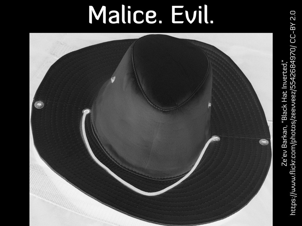 "Malice. Evil. Ze'ev Barkan, ""Black Hat Inverted..."
