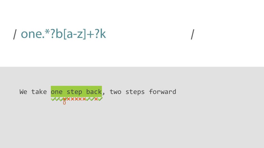 / / We take one step back, two steps forward