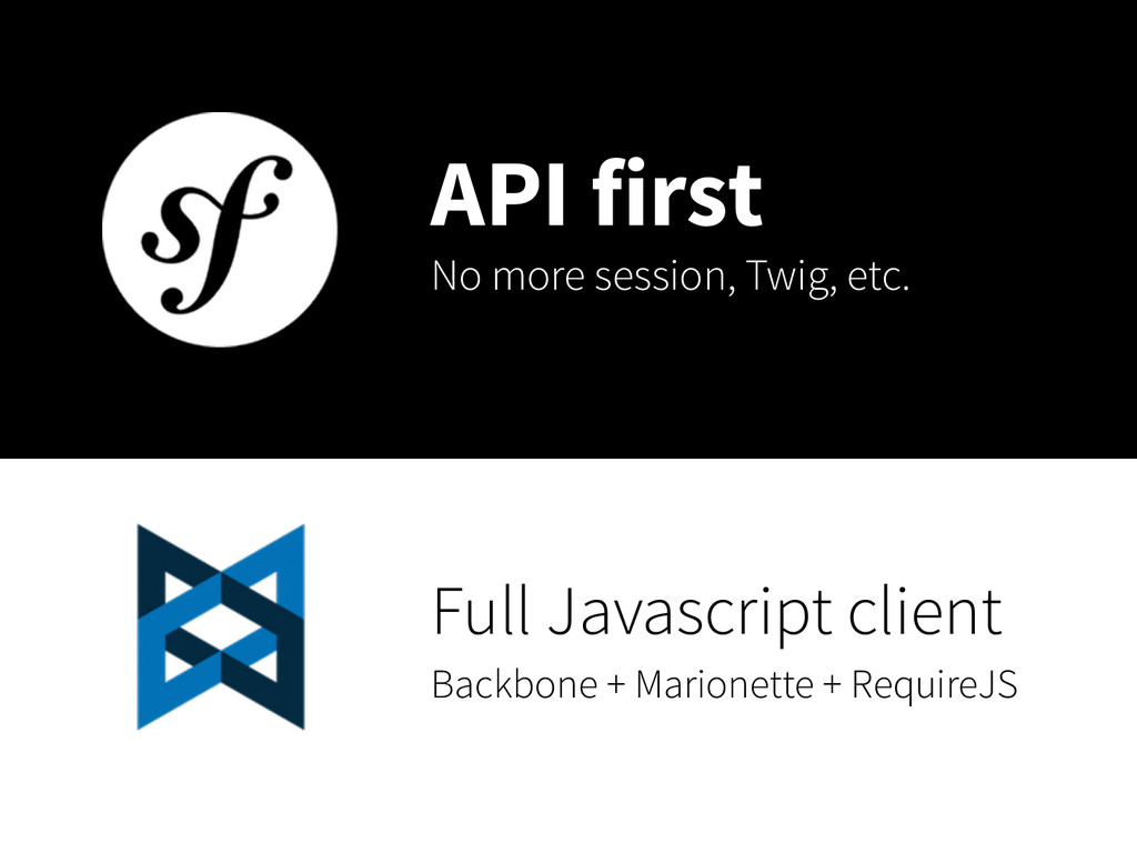 API first No more session, Twig, etc. Full Java...