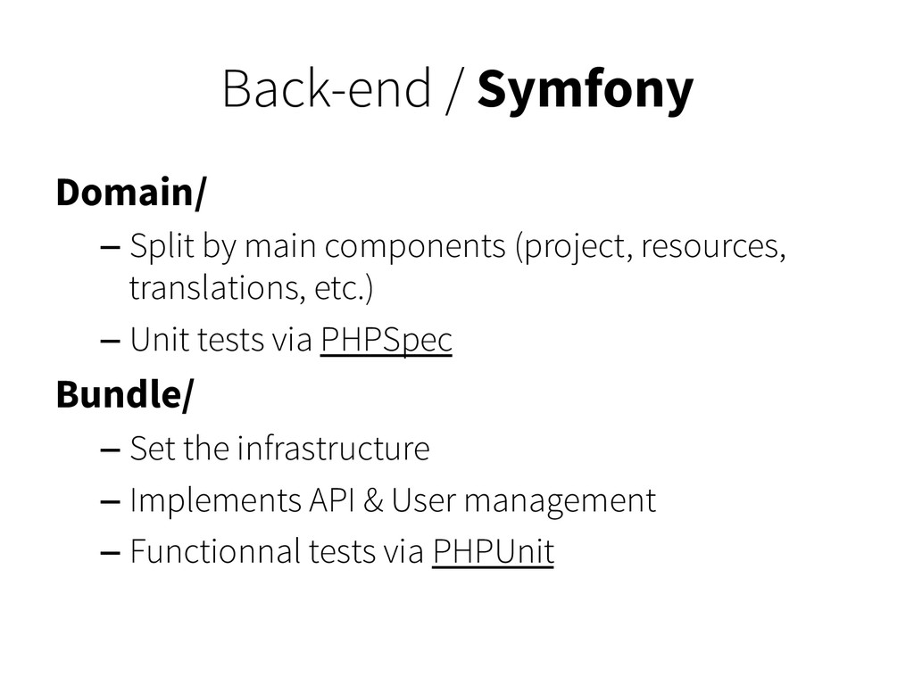 Back-end / Symfony Domain/ – Split by main comp...