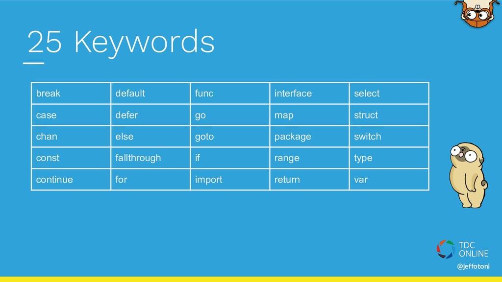 @jeffotoni 25 Keywords break default func inter...