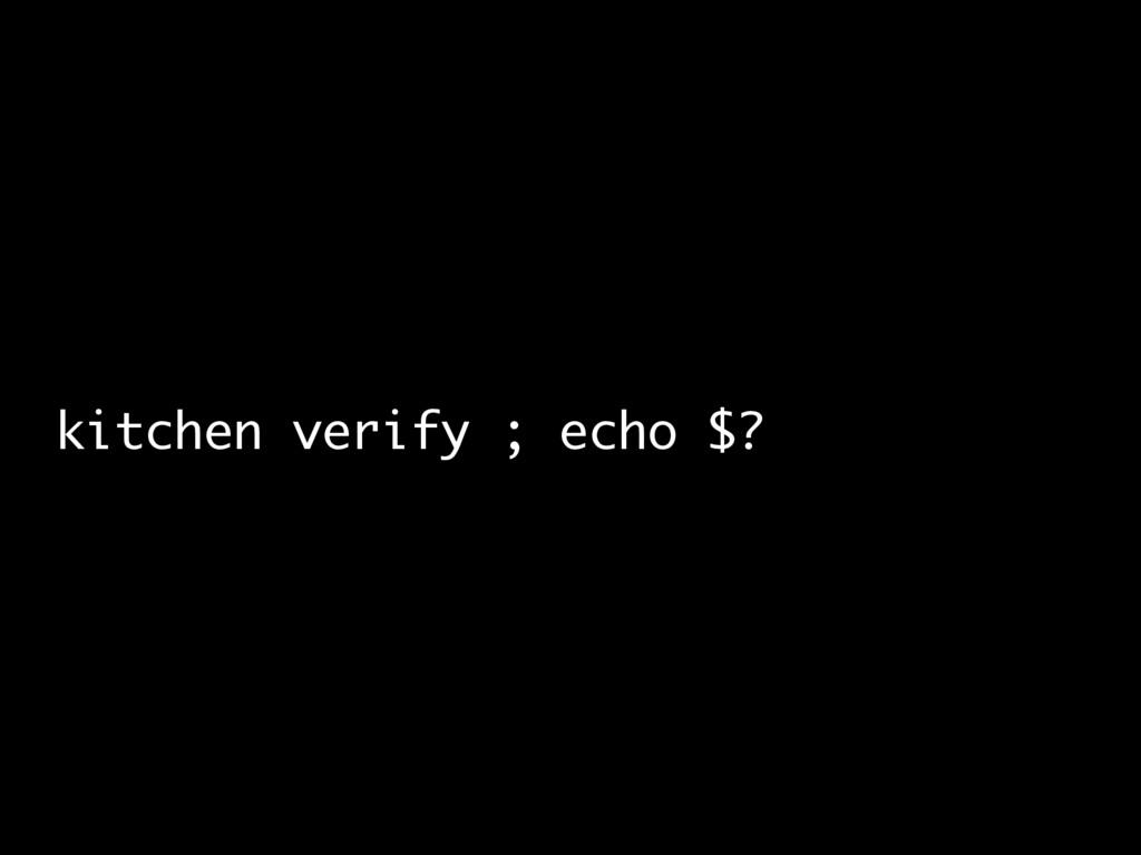 kitchen verify ; echo $?