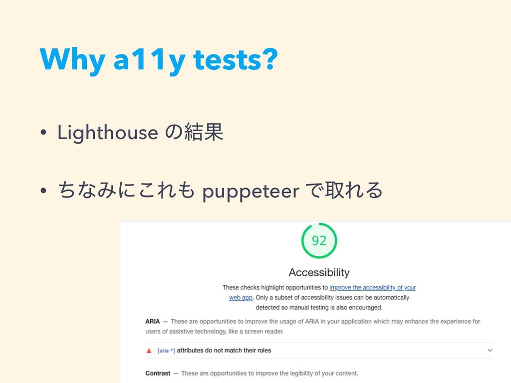 Why a11y tests? • Lighthouse ͷ݁Ռ • ͪͳΈʹ͜Ε pupp...