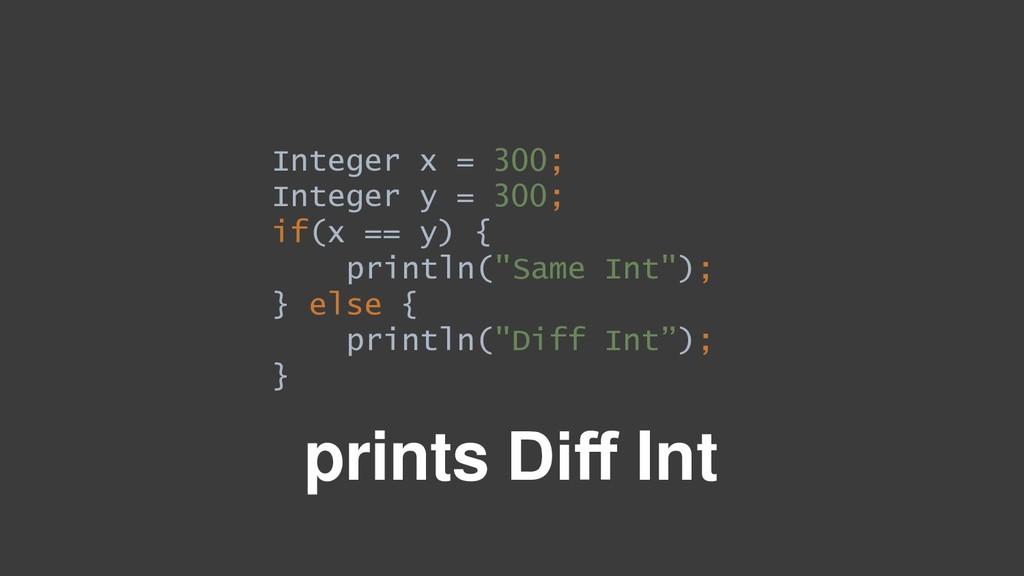 Integer x = 300; Integer y = 300; if(x == y) { ...