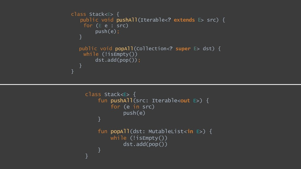 class Stack<E> { public void pushAll(Iterable<?...